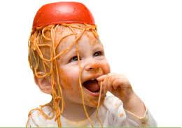 Child with Spaghetti on head